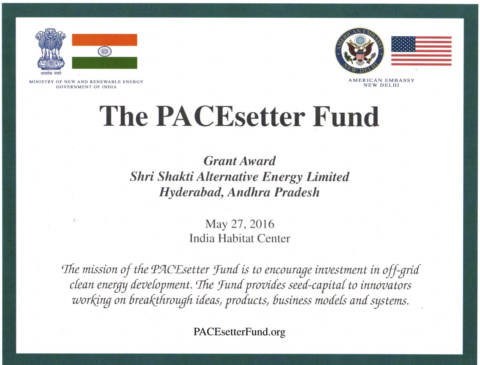 20160527 PACEsetter Award Certificate